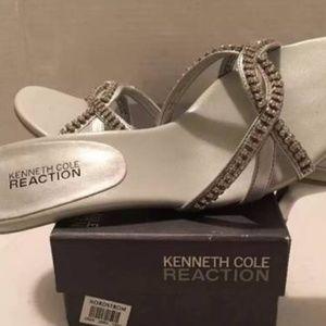 KENNETH COLE Silver Bling Mule Slide Sandals 6.5